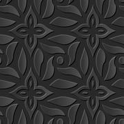 Seamless 3D elegant dark paper art Cross Spiral Flower Stock Illustration