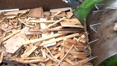 Wood recycling bin shredder waste crusher Stock Footage
