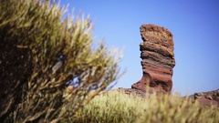 A rock on a background of blue sky Stock Footage