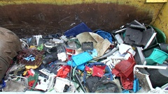 Plastic recycling container shredder waste crusher Stock Footage
