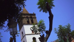 A small bell tower on sky background Stock Footage