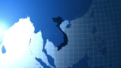 Vietnam. Map of Viet Nam.Zooming into Vietnam on the globe. Stock Footage