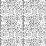 Vector damask seamless 3D paper art Polygon Cross Rope Stock Illustration