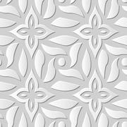Vector damask seamless 3D paper art Cross Spiral Flower Stock Illustration