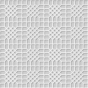 Vector damask seamless 3D paper art Check Cross Polygon Stock Illustration