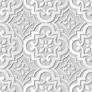 Seamless 3D white paper cut art background round curve flower kaleidoscope Stock Illustration