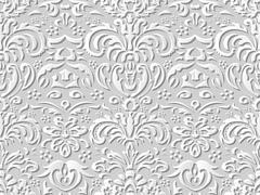 Seamless 3D white paper cut art vintage nature leaf flower Stock Illustration
