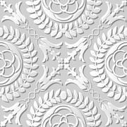 Seamless 3D white paper cut art round cross leaf flower Stock Illustration