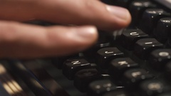 Man's Fingers Typing The Old Metal Typewriter, Retro Style. Close-up Stock Footage