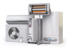 Heating devices and climate equipment.  Heating household appliances. Gas b.. Stock Illustration