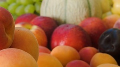 Closeup of ripe juicy apricots Stock Footage