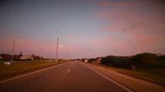 Timelapse of road trip during beautiful dusk hour Punta del Este, Uruguay Stock Footage
