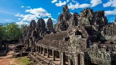 Timelapse of Bayon temple at Angkor Wat, Siem Reap, Cambodia. Stock Footage