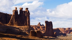 Arches National Park Courthouse Wash Time Lapse Timelapse Clouds Stock Footage