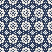 Seamless vintage worn out cute blue flower pattern background Stock Illustration