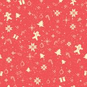 Seamless worn out Christmas decorating items background Stock Illustration