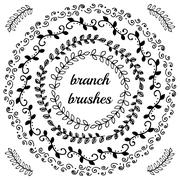 Hand drawn branch brushes. Stock Illustration
