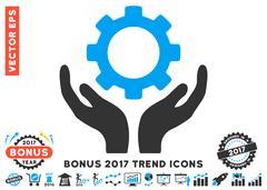 Gear Maintenance Hands Flat Icon With 2017 Bonus Trend Stock Illustration