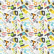 Construction tools vector icons seamless pattern Stock Illustration
