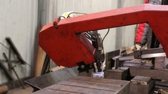 Machine With Metal Band Saw. Industrial Works Precision. Slow Sawing Thick Stock Footage