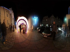 360Vr Video Saint Nicholas' Day in Opole Poland Arch Made of Lights Families Stock Footage