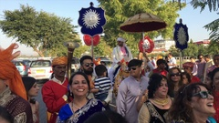 People celebrating a street wedding in Udaipur, India. Stock Footage