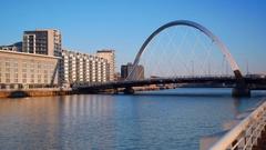 Millennium bridge over the Clyde River Stock Footage