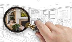 Hand Holding Magnifying Glass Revealing Custom Kitchen Design Drawing and P.. Stock Photos