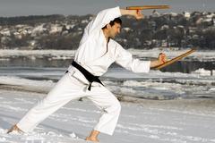 Ninja with tonfa in snow Kuvituskuvat