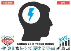 Brain Electric Shock Flat Icon With 2017 Bonus Trend Stock Illustration