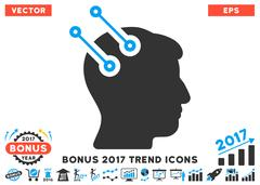 Neural Interface Connectors Flat Icon With 2017 Bonus Trend Stock Illustration