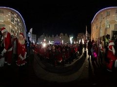 360Vr Video Saint Nicholas' Day in Opole Poland Kids and Animators in Santa Stock Footage