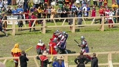 Team of medieval knights from United States fight with knights from Poland Stock Footage