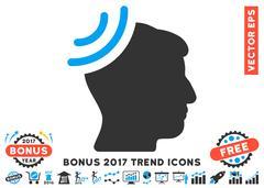Radio Reception Brain Flat Icon With 2017 Bonus Trend Stock Illustration