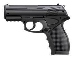 Powerful pistol, gun, handgun, vector illustration. Piirros
