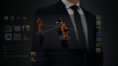Businessman working on a futuristic holographic interface. Social network. Stock Footage