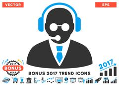 Support Manager Flat Icon With 2017 Bonus Trend Stock Illustration