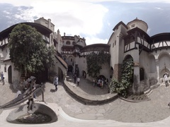 Inner Courtyard of Bran Castle, Dracula's Castle near Bran in Romania. 360VR Stock Footage