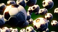 Abstract CGI motion graphics with flying soccer balls Stock Footage