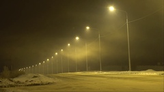 Road by night in the fog Stock Footage
