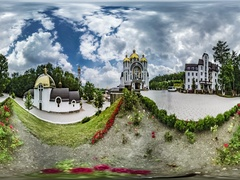 360 vr Video Worshipers at Church in Zarvanytsia Greek Catholic Church Flower Stock Footage