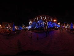 360 vr Video New Year Celebration in Kiev Lively Independence Square Night Stock Footage