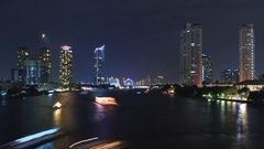 Chaopraya River View from Taksin Bridge, Bangkok, Thailand Stock Footage