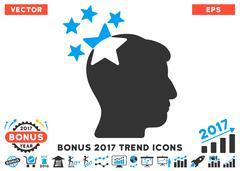 Stars Hit Head Flat Icon With 2017 Bonus Trend Stock Illustration