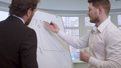 Businessman draws on the flip chart Stock Footage