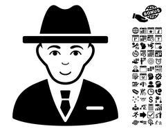 Agent Flat Vector Icon With Bonus Stock Illustration