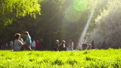 Cinemagraph people children relax outdoors in park on spring nature Stock Footage