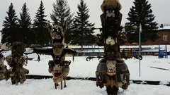 Kukeri Bulgarian mummers' masks in UHD 4K Stock Footage