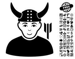 Horned Warrior Flat Vector Icon With Bonus Stock Illustration