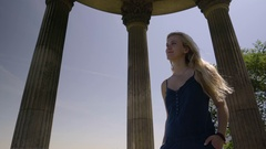 Beautiful Young Woman Enjoys The Sights From The Temple De La Sibylle Stock Footage